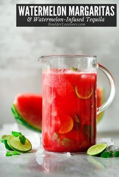 Watermelon Margaritas and homemade Watermelon-Infused Tequila are so easy to make and refreshing to drink. You'll want a batch of this tequila in the fridge all summer long to make margartias any time! Pitcher Margarita Recipe, Tequila Recipe, Pitcher Drinks, Margarita Recipes, Cocktail Recipes, Drink Recipes, Watermelon Tequila, Strawberry Tequila, Pineapple Juice