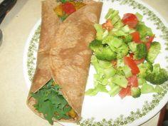 2317 Organic #Wholewheat #Burrito w #kale #redlentile 'refriedbeans' stewed #tomatoes w #jalepeno & #broccoli