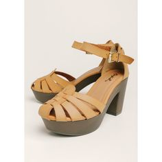 Ruche Lorna Platform Heels (60 CAD) ❤ liked on Polyvore featuring shoes, sandals, brown, chunky heel platform shoes, brown platform sandals, ankle strap high heel sandals, brown braided sandals and ankle strap shoes