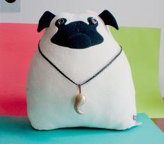 Velvet Moustache Pug pillow. So cute! @Kacie Anderson