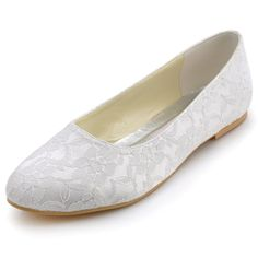 EP11106 Elegant White Ivory Women Shoes Bridal Party Flats Closed Round Toe  Comfortable Satin Lace Lady 353381a96ef2