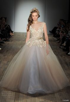 lazaro fall 2017 bridal cap sleeves v neck heavily embellished bodice tulle skirt gold champagne princess ball gown wedding dress open square back chapel train (01) mv -- Lazaro Fall 2017 Wedding Dresses