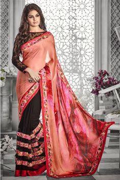 Gorgeous Half Half Party Wear Designer Saree