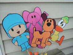 4 LARGE pocoyo inspired characters in stick great to make your own centerpieces.