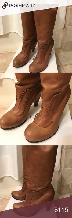 """Coclico Osage leather boot Size 37.5 Coclico Osage mid-calf boots in a beautiful cognac color. Al leather including soles.  Only worn once. In excellent condition.  Shaft height is 13.5"""" from ground.  Heel height 3.5"""". Coclico Shoes Heeled Boots"""