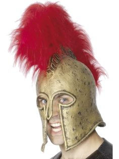Roman Armour Helmet, Gold and Red | Frojos.co.uk