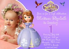 Sofia the First Birthday Party Invitation by FabulousInvitation, $8.99 Princess Sofia Birthday, Sofia The First Birthday Party, Birthday Bash, Princess Party, Birthday Party Invitations, Girl Birthday, Birthday Ideas, Childrens Party, First Birthdays