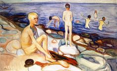 Edvard Munch (Norwegian 1863–1944) [Expressionism, Symbolism] Bathing Boys…