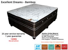 Excellent Dreams Bamboo mattress