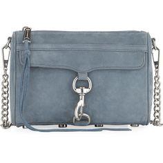 Rebecca Minkoff Mini MAC Nubuck Crossbody Bag (13.080 RUB) ❤ liked on Polyvore featuring bags, handbags, shoulder bags, dusty blue, blue purse, mini cross body purse, blue cross body purse, cross-body handbag and mini handbags