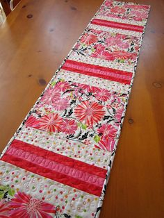 Handmade Quilted Table Runner Floral Stripe by PatchworkMountain. This would be quick & easy to make.