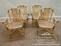Drexel Heritage Quality Set Of 4 Bamboo Rattan Dining Arm Chairs