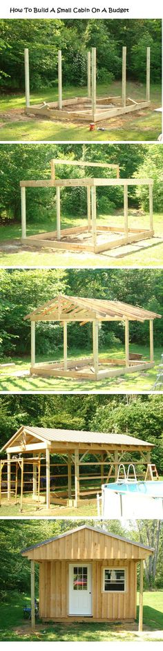 How To Build A Small Wood Cabin On A Budget | http://diy4homeideas.com/2013/08/build-small-wood-cabin-budget/
