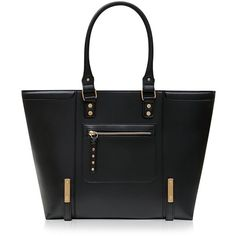Black Structured Tote Bag ($42) ❤ liked on Polyvore featuring bags, handbags, tote bags, newlook, black, faux leather tote, black purse, black faux leather tote, vegan tote and zippered tote