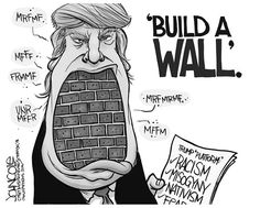 This is an example of a political cartoon. Presidential elections are coming and Donald Trump wants to build a wall to stop Mexicans from coming. That explains the bricks as his teeth.