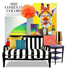 """""""She Comes In Colors"""" by joyfulnoise1052 ❤ liked on Polyvore featuring interior, interiors, interior design, home, home decor, interior decorating, Trademark Fine Art, Loloi Rugs, Jonathan Adler and Universal Lighting and Decor"""