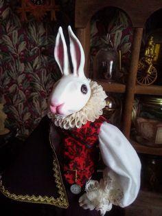 Alice in Wonderland Art Doll. White Rabbit Alice In Wonderland, Go Ask Alice, Courtier, Hare, Art Dolls, Rabbit Hole, Anxious, Handmade, Summary