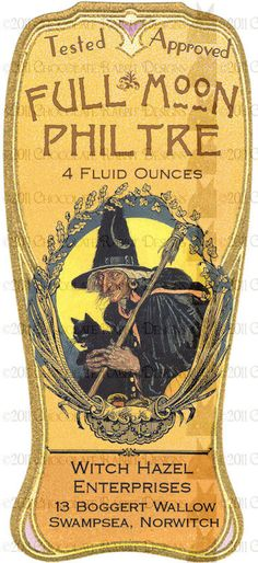 Halloween Witch Potion Bottle Label Download - Full Moon Philtre High Resolution