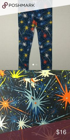 Lularoe Americana kids L/XL leggings Navy blue background with fireworks in yellow, Coral, light blue, royal blue, and white LuLaRoe Bottoms Leggings