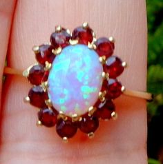 Opal Ring Pink Fire Opal Garnet Ring Vintage by JanesGemCreations, $169.00