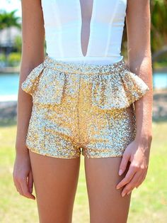 Peplum sequin shorts. I would probably never wear them anywhere but they're pretty to look at! :)