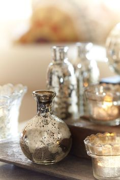 potterybarn: Mercury glass vases – stunning as a living room display, or on a vanity. Carafe, Beauty And More, Bottles And Jars, Magic Bottles, Glass Bottles, Mercury Glass, Glass Collection, White Christmas, Christmas Colors