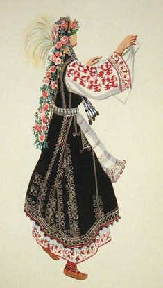 Folk Costume of Sofia area, Bulgaria. Merry Widow, Ethno Style, Folk Dance, Russian Folk, Folk Embroidery, Folk Costume, Bulgarian, Traditional Dresses, Textiles