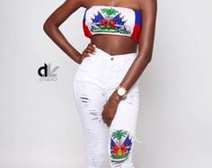 Haitian flag top (any flag) xs/S/M/L/xl Caribbean Flags, Haitian Flag, Haitian Creole, Outfit Of The Day, Crop Tops, Clothes For Women, Peaches, Trending Outfits, Clothing