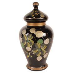 Vintage black glass vase with hand-painted floral details. Product: Vase and lidConstruction Material: Glass Urn Vase, Glass Vase, Joss And Main, Vintage Boutique, Black Glass, Home Decor Accessories, Vintage Black, Black Gold, Hand Painted