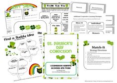 A St. Patrick's Day Collection of four printables.  The collection includes themed exit slips, Think Tack Toe, Find a Buddy Who, and Match-It.