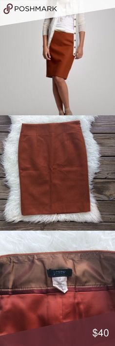 """J. Crew Cinnamon Wool Pencil Skirt Excellent condition J. Crew wool pencil skirt in cinnamon. Dark burnt orange. Size 0. Waistband 27"""", hips 37"""", length 22.5"""", back slit 6.5"""". Fully lined. No trades, offers welcome. J. Crew Skirts Pencil"""