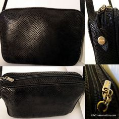 Authentic SALVATORE FERRAGAMO Italy Exotic Python Snake Skin Leather Shoulder Cross Body Bag Gold Hardware by ElleTreasures