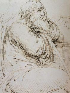 Sketch from notebooks of Leonardo da Vinci. Il Pensatore.