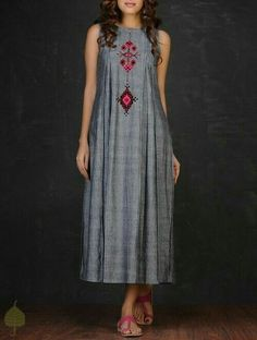 Grey-Red Embroidered Inverted Box Pleated Cotton Dress by Jaypore Linen Dresses, Cotton Dresses, Casual Dresses, Fashion Dresses, Summer Dresses, Kurta Designs, Blouse Designs, Indian Dresses, Indian Outfits