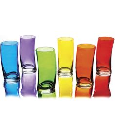 It don't mean a thing if it ain't got that swing! These colorful translucent glasses turn every beverage into a cause for celebration.   Whether you wet your whistle with a tall glass of orange juice or a Long Island iced tea, you'll like the way the curved glass fits in your hand and how the vi...