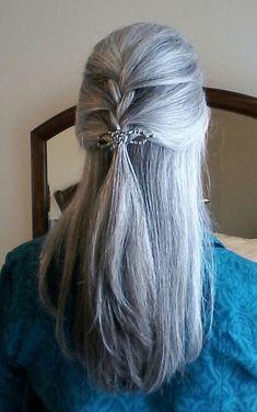 D ❤️Long gray hair braid Buy Avon Online @ krisstanley.D ❤️Long gray hair braid Buy Avon Online @ krisstanley. Curly Hair Styles, Hot Hair Styles, Natural Hair Styles, Natural Beauty, Long Gray Hair, Silver Grey Hair, Curly Silver Hair, Grey Wig, Pelo Color Plata