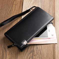 2016 Baellerry Business Men's Wallets Solid Leather Long Wallet Portable Cash Purses Casual Standard Wallets Male Clutch Bag