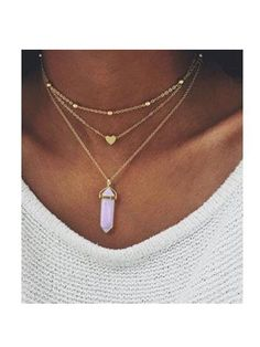 Golden And Purple Stone Pendant Necklace