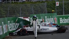 Felipe Massa (BRA) Williams FW38 crashed in FP1 at Formula One World Championship, Rd7, Canadian Grand Prix, Practice, Montreal, Canada, Friday 10 June 2016. © Sutton Images