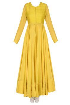 Yellow lotus motifs embroidered kalidaar kurta set available only at Pernia's Pop Up Shop.