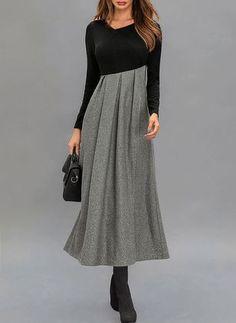 Color Block Ruffles Long Sleeve Midi A-line Dress Grey Work Dresses, Dressy Dresses, Elegant Dresses, Nice Dresses, Women's Fashion Dresses, Dress Outfits, Girl Fashion, Smart Casual Wear, Vintage Rock