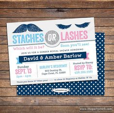 Gender Reveal Party Invitations Staches or Lashes by thepartystork