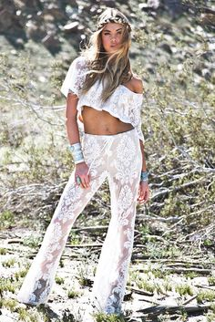 Janla Lace Crop Top - White