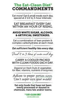 Clean Eating Commandments via The Eat Clean Diet #healthy #resolutions