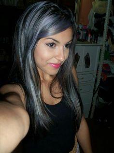 Dark hair plus Grey highlights