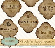 Halloween Apothecary Labels by Origins Digital Curio on @creativemarket