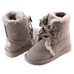 Gray Grey Leather Fur Warm Winter Snow Boots Women Size 5 6 7 8 9 10 SKU-143157