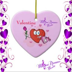 Valentine Hearts and Rose Ornament #valentine #ornament #ValentinesDay #moondreamsmusic #pink #red #love #decorate #rose