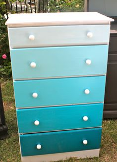 Blue ombre dresser made from paint samples I love this! could put my sewing stuff in each drawer!