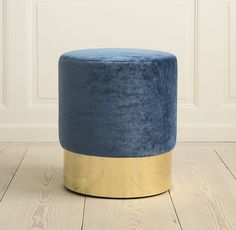 Azucena, Contemporary, Italy. Designed by Luigi Caccia Dominioni, 1963 Stool. Velvet upholstery and polished brass base. H43,5 cm x Ø40 cm